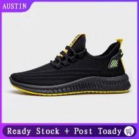 Sepatu Sneakers Olahraga Casual Pria Breathable Warna Hitam untuk