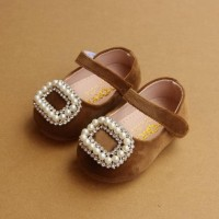 Diamond Pearl Square Buckle Baby Girls Single Shoes Princess Leather S