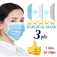 MASKER 3 PLY / SURGICAL MASK/ MASKER 3PLY ISI 50pc bersertifikat CE