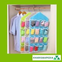 Underwear Pouch Hanging Organizer 16 Sekat Bamboo Storage Box Set
