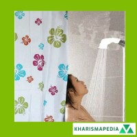 Shower Curtain Tirai Kamar Mandi Motif Anti Air Bahan PEVA Pengait