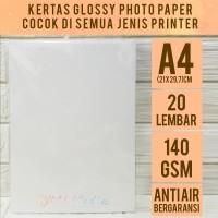 Kertas Foto Glossy 140 gsm A4 isi 20 / Photo Paper 140 gram SINGLESIDE