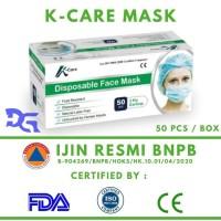 1 Box Surgical Face Mask K-CARE 3 Ply isi 50 Pcs - Masker Sensi