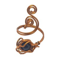 Missty Craft - Cincin Wire Batu Black Opal Motif Sulur