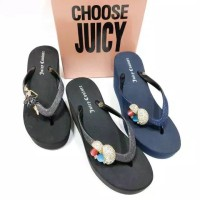 Sendal Jepit Wanita Juicy Couture Jamur Wedges