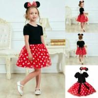 Baju dress pesta anak Minnie Mouse set bando,baju anak perempuan impor