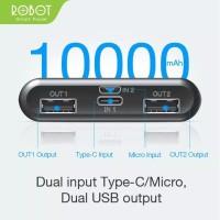 Power Bank Robot 10000 mAh RT170 Dual output dan Input- super slim Ori