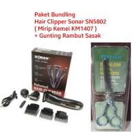 Paket Hair Clipper Sonar SN5802 Mirip Kemei + Gunting Rambut Sasak