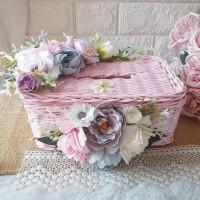Tempat Tissue Pink Hias Bunga Custom / Kotak Tisu / Dekorasi Rumah