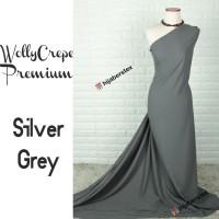 HijabersTex 1/2 Meter Kain WOLLYCREPE PREMIUM Silver Grey