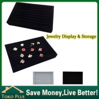 Kotak Display / Nampan pajangan cincin bludru/kotak wadah cincin - Hitam