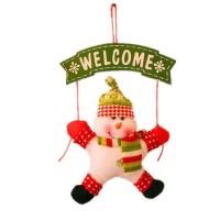 Ornamen Gantung Pintu Desain Santa Snowman untuk Dekorasi Natal