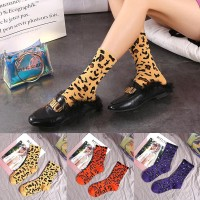 Warna Kaos Kaki Motif Leopard, Bahan Katun, 7 Pilihan