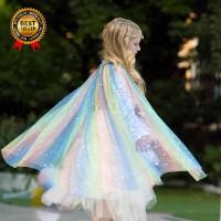 Jubah Princess Sequin Warna Warni untuk Kostum Pesta Ulang Tahun