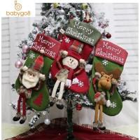 Pohon Natal Kaos Kaki Gantung Motif Santa Claus untuk Dekorasi