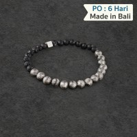 6mm Lava Stone and Sterling Silver Bead