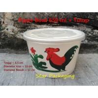 Paper Bowl 650 ML Ayam Jago Isi 50pcs + TUTUP