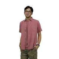 Daily Outfits Kemeja Lengan Pendek Pria Katun Slimfit Maroon Unisex