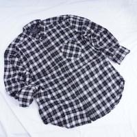 Kemeja Flannel Motif Kotak Flanel Katun Pria Cowok Slim Fit Panjang