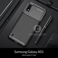 Case Samsung Galaxy A01 ( 5.7 inch ) Synthetic Fiber Protective Carbon