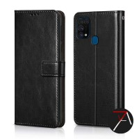 Samsung Galaxy M31 Flip Wallet Kulit Leather Cover Case Casing Card