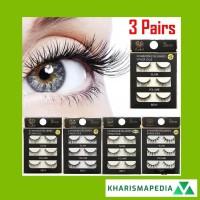 3 Pasang Bulu Mata Palsu Full Strip Silang Lembut Panjang / POPULER