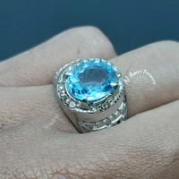 Batu Cincin Pria Natural Swiss Blue Topaz Oval Mix Cut