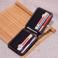 dompet pria kulit asli handmade warna hitam model slim bifold wallet