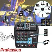 Mixer Audio Bluetooth USB Record Phantom Power 4 Channels Audio