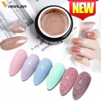 VENALISA Black Seashell Glitter Gel Polish 5ml/ Kutek Gel Glitter