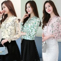 Tops Fashion Wanita Korea Floral Chiffon Blouse Kemeja Lengan