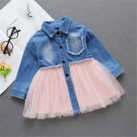 Denim untuk Musim Gugur Dress Casual Bayi / Anak Perempuan Lengan