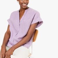 MARKS & SPENCER - Blouse Wanita - Pure Linen Striped Popover Blouse