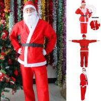 5Pcs Set Kostum Santa Claus Natal Adjustable untuk Dewasa / Anak