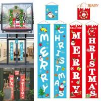 Ornament 3pcs Merry Christmas Banner Couplet Door Curtain Cloth