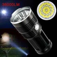 Senter 12 LED 36000 Lumen CREE XML T6 4 18650 Lampu Memburu Ultra