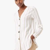 MARKS & SPENCER - Blouse Wanita - Linen Rich Striped Longline Blouse