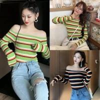 Sweater Rajut Off Shoulder Sabrina Lengan Panjang Motif Garis