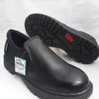 hoot sale sepatu safety selop /slip on. ujung besi kulit asli kr10 -