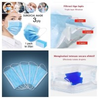MASKER 3 PLY SURGICAL MASK DISPOSABLE MASK / ISI 20pcs