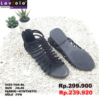 Laviola Shoes - Sandal Gladiator Shoes Wanita - 2425 TGK Black