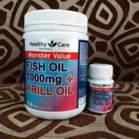 Healthy Care Krill Oil + Omega 3 Fish Oil Minyak Ikan 30 Kapsul Repack