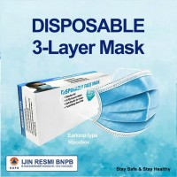 Disposable 3 Layer Face Mask Type Masker Kesehatan COVID