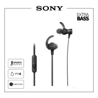 SONY MDR-XB510AS Black Extra Bass Sport Earphone / XB510AS / XB-510
