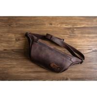 Tas Pinggang Kulit Comte Leather Waist Bag - Dark Brown