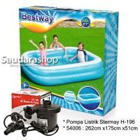 Bestway 54006 Kolam Renang Anak [262 x175 x51cm] + Pompa listrik 58090