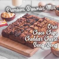 Kue Brownies Brownis Panggang PREMIUM Mix 4 Topping Coklat Bronis