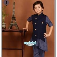 setelan busana muslim anak cowok model kurta biru-abu abu