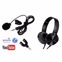 Paket Youtuber Vloger lengkap mic clip on headphone aux splitter