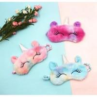 Masker penutup mata tidur unicorn plush eye mask Premium